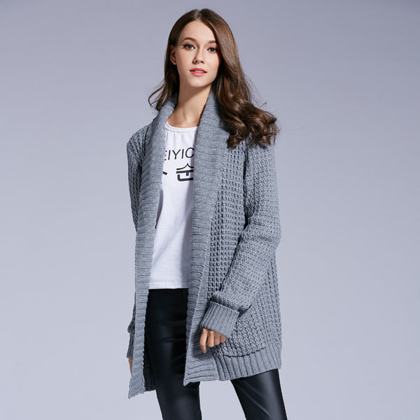 Brand New Autumn Winter Fashion Women Gray Casual Knitted Cardigan Coats-Justt Click