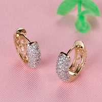 Round Crystal Earrings for Women Gold-color Hoop Earrings Stone Cubic Earring Jewelry-Justt Click