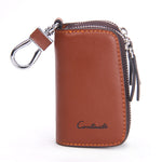 Genuine Leather Car Key Holder For Men Business Key Wallet Housekeeper Keys Male Zipper Door Key Chain Organzier Key Pouch Case-Justt Click