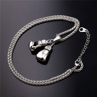 Men's Women's Stainless Steel Boxing Glove Pendant Necklace Chain-Justt Click