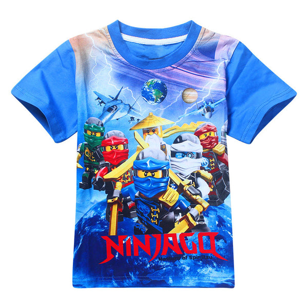 Boys Clothing Summer Kids T-shirt Ninja Ninjago Cartoon Movie Print T-shirt Tees Boys Girls Tops Kids Costume-Justt Click