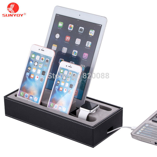 HOT!!Black PU Leather Cell Phone Charging Station ,4 in 1 Multi Device Organizer-Justt Click
