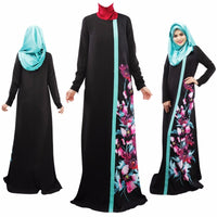 Spring Women Lady Kaftan Abaya Jilbab Islamic Muslim Floral Long Sleeve Maxi Dress-Justt Click