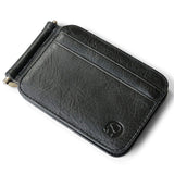 Thin Billfold Vintage Wallet Men Money Clips Genuine Leather Clamp for Money Holder Credit Card Case Cash Clip 8 Card Pocket-Justt Click