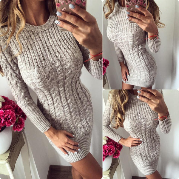 2019 New Autumn Winter Warm Sweater Dress Women Sexy Slim Bodycon Dress Female O neck Long Sleeve Knitted Dress Vestidos-Justt Click