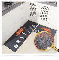 2 Pcs Kitchen Mat Anti-slip Japan Style Cartoon Rubber Backing Kitchen Rug Set 40*60cm+40*120cm-Justt Click
