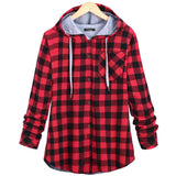 Fashion Women Hoodies Cotton Autumn Winter Coat Long Sleeve Plaid Casual Sweatshirt-Justt Click