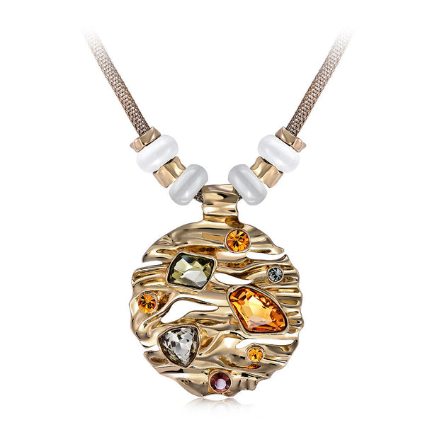 Hot Viennois Coffee Gold Color Round Pendant Necklace for Woman Large Crystal Multicolor Austrian Rhinestone Opal Stone Jewelry-Justt Click