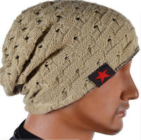 Men Knit Beanie Reversible Baggy Cap Skull Chunky Winter Hat X085-Justt Click