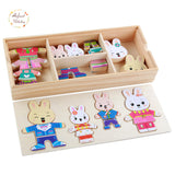 Infant Shining Baby Bear Change Clothes Puzzle Building Block Early Childhood Wooden Jigsaw Gift Toys 1-4y 72pcs Model Kits-Justt Click