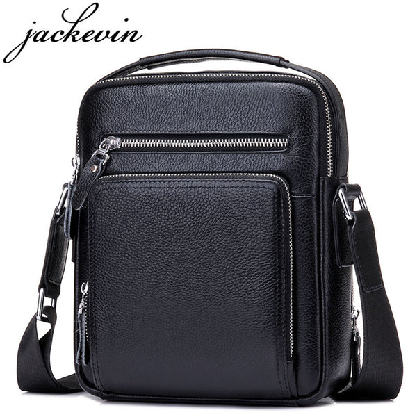 JACKKEVIN Top Quality 100% Genuine Leather Bag Men iPad Tabelt Cowskin Crossbody Bag Men's Handbags-Justt Click