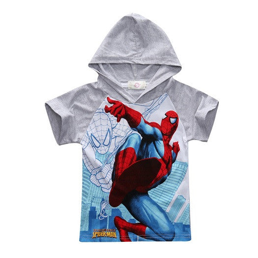 2017 New Kids Spiderman Tshirt Hood-Justt Click