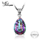 JewelryPalace Pear 4.5ct Genuine Rainbow Fire Mystic Topaz Pendant For Women Solid 925 Sterling Silver Jewelry Not Include Chain-Justt Click