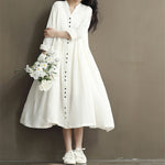 New 2018 Cotton Linen White Color Women Dress 2018 Spring New Long Sleeve Stand Neck Loose Bat Sleeve Irregular Dresses-Justt Click