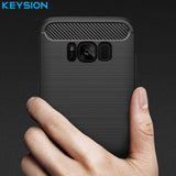 KEYSION Phone Case For Samsung Galaxy S8 Environmental Carbon Fiber Soft TPU Anti-Skid Cover-Justt Click