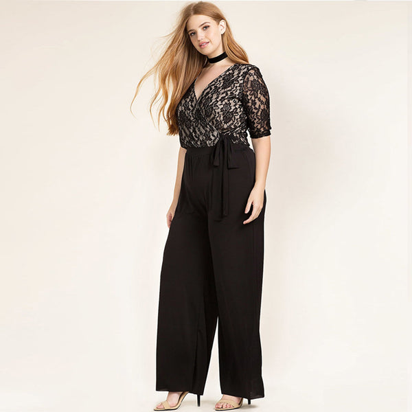 ff4b8b64937e Women Plus Size Clothing Casual Black Surplice Wrap Lace Patchwork Jumpsuits  Rompers Pants Big Size Wide Leg Pants