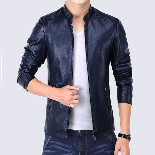 Korean Slim Fit Faux Leather Jacket Men Zipper Pockets 2016 Fashion Autumn Men's Jackets Black Blue Red Windbreaker Coat Male-Justt Click