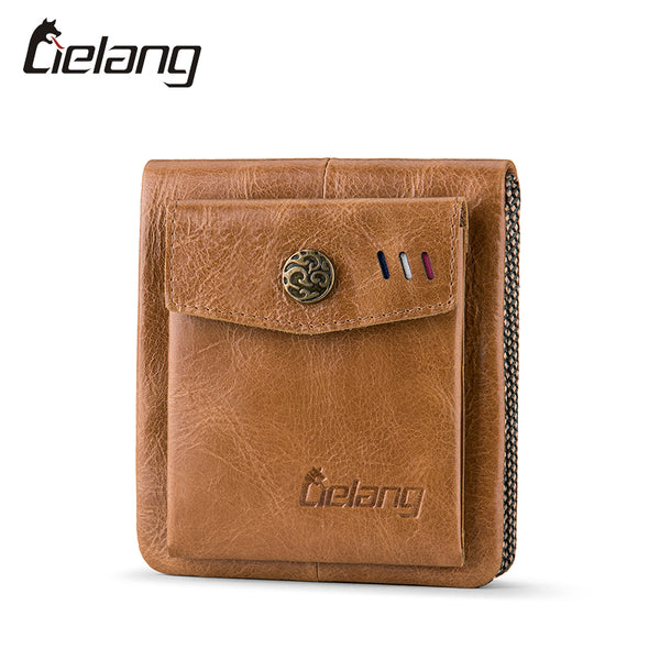 Men Wallets 100% Genuine Leather Small Hasp Men Walet Crazy Horse Cowhide Leather Men Short Coin Purse Rfid Wallet Men-Justt Click