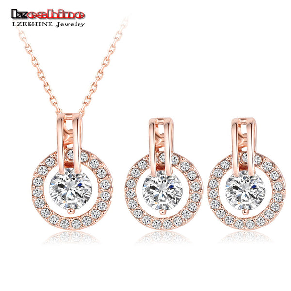 LZESHINE New 2016 Big Sale Wedding Jewelry Sets Rose Gold Color Necklace/Earring Bijouterie Sets for Women Aretes ST0017-A-Justt Click