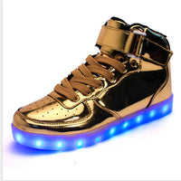 Gold and Silver Led Shoes 7 Clor Led Luminous Shoes Gold Silver-Justt Click