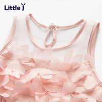 Little J Summer Mesh Vest Girls Dress Baby Girl Lace Princess Dress Sleeveless Kids Clothes Petal Party Children Costumes-Justt Click