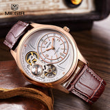 Man Watch Genuine Megir Leather Band 3 Small Dials Quartz Wristwatch Chronograph Relogio Masculino-Justt Click