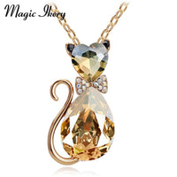 Rhinestone Crystal Cat Necklace Fashion Jewelry Women's Necklace-Justt Click