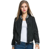 Ladies Bomber Jackets Fashion and Retro Baseball coat for women Students Ribbed Cuffs Solid Color Feminina Basic Outwear-Justt Click