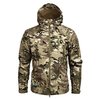 Mege Brand Camouflage Military Men Hooded Jacket, Sharkskin Softshell US Army Tactical-Justt Click