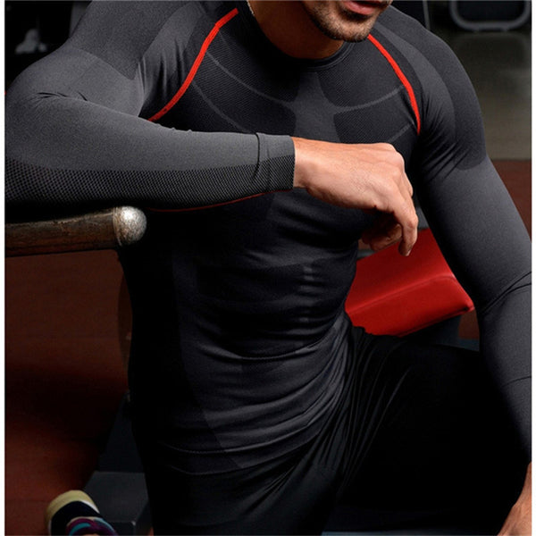 New Men Long Sleeve Compression Shirt Base Layer Tops Sports-Justt Click
