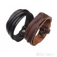 Men Women Unisex Multi thong braided thin Genuine Leather Bracelet wristband-Justt Click