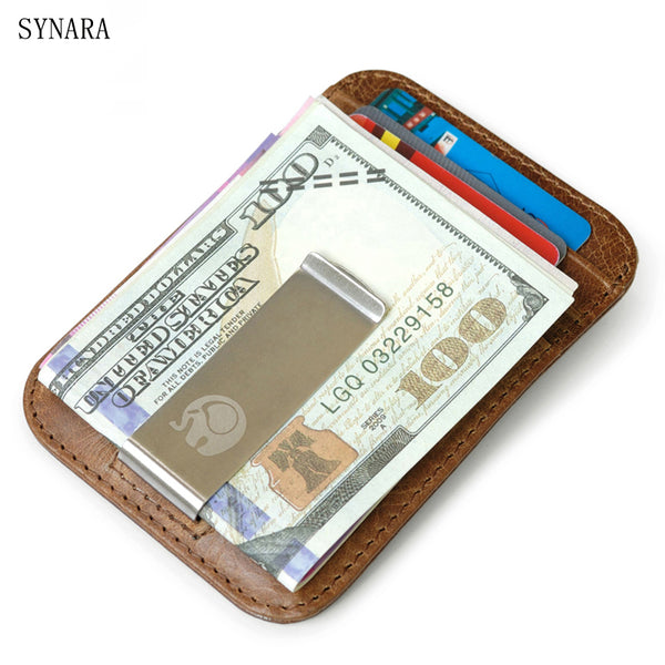 Men money clips vintage genuine leather front pocket clamp for money holder removable money clip wallet with card ID Case-Justt Click