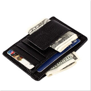 Men's Genuine Leather Money Clip Famous Brand Money Clip Wallet for Cash Fashion Designer Wallet for Cards and Money ZC6014-Justt Click
