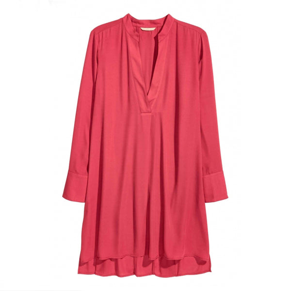 Big Size New Fashion Women Clothing Casual Basic Dress V-Neck Long Sleeve Shirt Dress Plus Size Dress 4XL 5XL 6XL 7XL - Justt Click