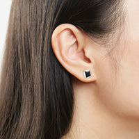Simple Style Square Gemstone Black Chalcedony Stud Earring 925 Sterling Silver-Justt Click