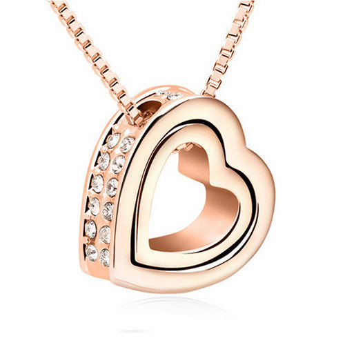 Gold Plated Gold Austrian Crystal Luxury Brand Heart Necklace - Justt Click