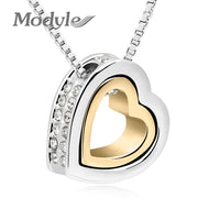 Gold Plated Gold Austrian Crystal Luxury Brand Heart Necklace-Justt Click