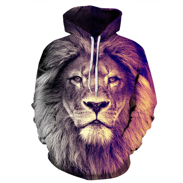 New Fashion Animal Style Sweatshirts Men/Women Pullovers Print Lion Hoodies-Justt Click