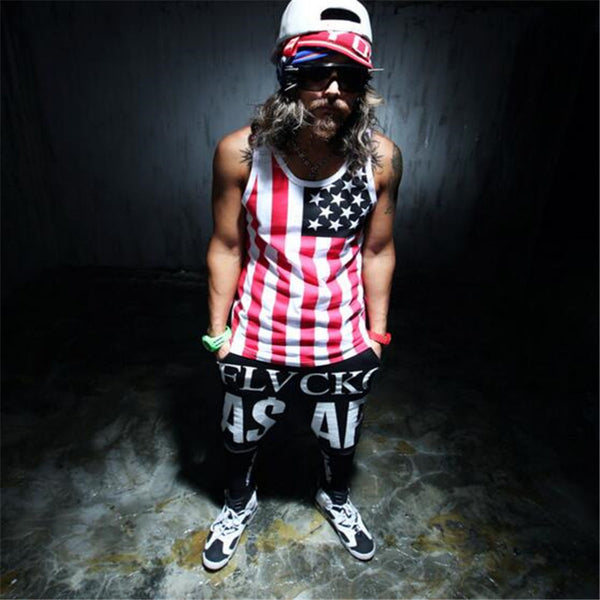 Men's cool fashion personality vest & men's national flag printing vest-Justt Click