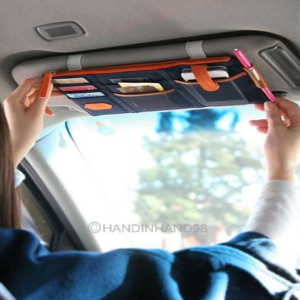 2017 Car Sun Visor Point Pocket Documents Organizer Pouch Hanging Bag CD Card Holder-Justt Click