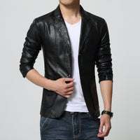 New Brand Men's Blazer Jacket Men Soft PU Leather Coat Male Fashion Khaki Blazer Masculino Slim Fit Suit Style Casual Blazers-Justt Click