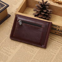New Classic Fashion Men Dollar Clip Black Coffee Bright Leather 2 Folds Style Money Clips Clamp With Coin Pocket Free Shipping-Justt Click
