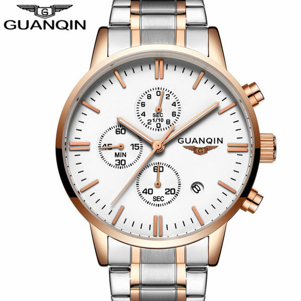 New Fashion High Quality Men watch Guanqin Quartz Full Steel-Justt Click