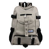 New Fashion arcuate shouider strap zipper solid casual bag male backpack school bag canvas bag designer backpacks for men-Justt Click