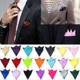 New Men's Hanky Satin Solid Plain Wedding Party Daily Suits Pocket Square Handkerchief 26 Colors-Justt Click