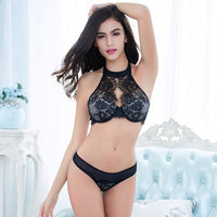 New palace embroidery slim black enticement eyelash lace lingerie bra set-Justt Click