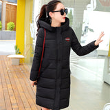 O-neck Striped Cotton Parkas With Appliques Women Winter Long Sleeve Cute Pocket Casual Slim Coats-Justt Click