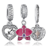 Original 925 Sterling Silver Radiant Orchid Snowflake MOM Daisy Pendant Beads Fit Charm Bracelet Jewelry Accessories-Justt Click