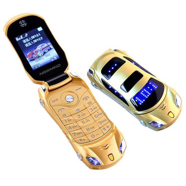 Original Unlocked Flip Phone Dual Sim Mini Sports Car Model Blue Lantern Bluetooth Mobile Cell Phone 2sim Celular