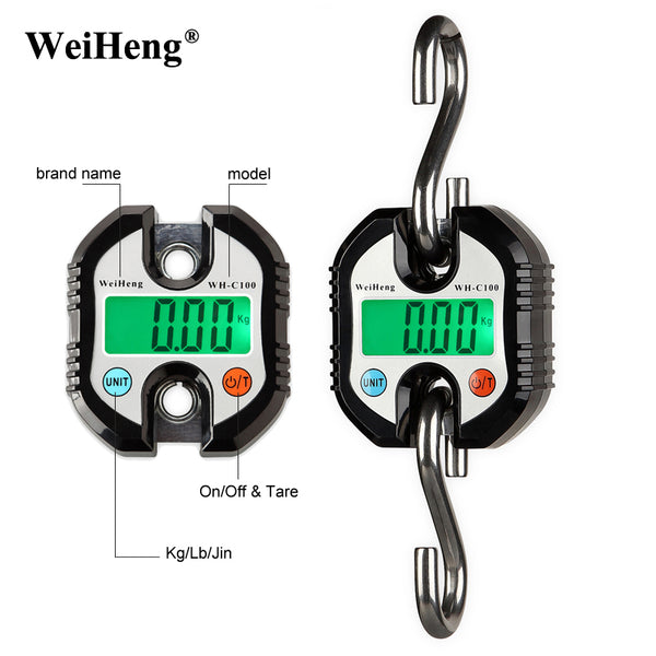 Original WeiHeng 150kg x 50g mini Heavy Duty Electronic Digital Hook Scale Hanging Crane Scale LCD Balance Weight-Justt Click